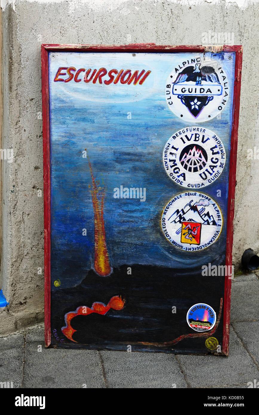 Advertisement for guided volcano tours, Stromboli Island, Lipari Islands, Italy - Stock Image