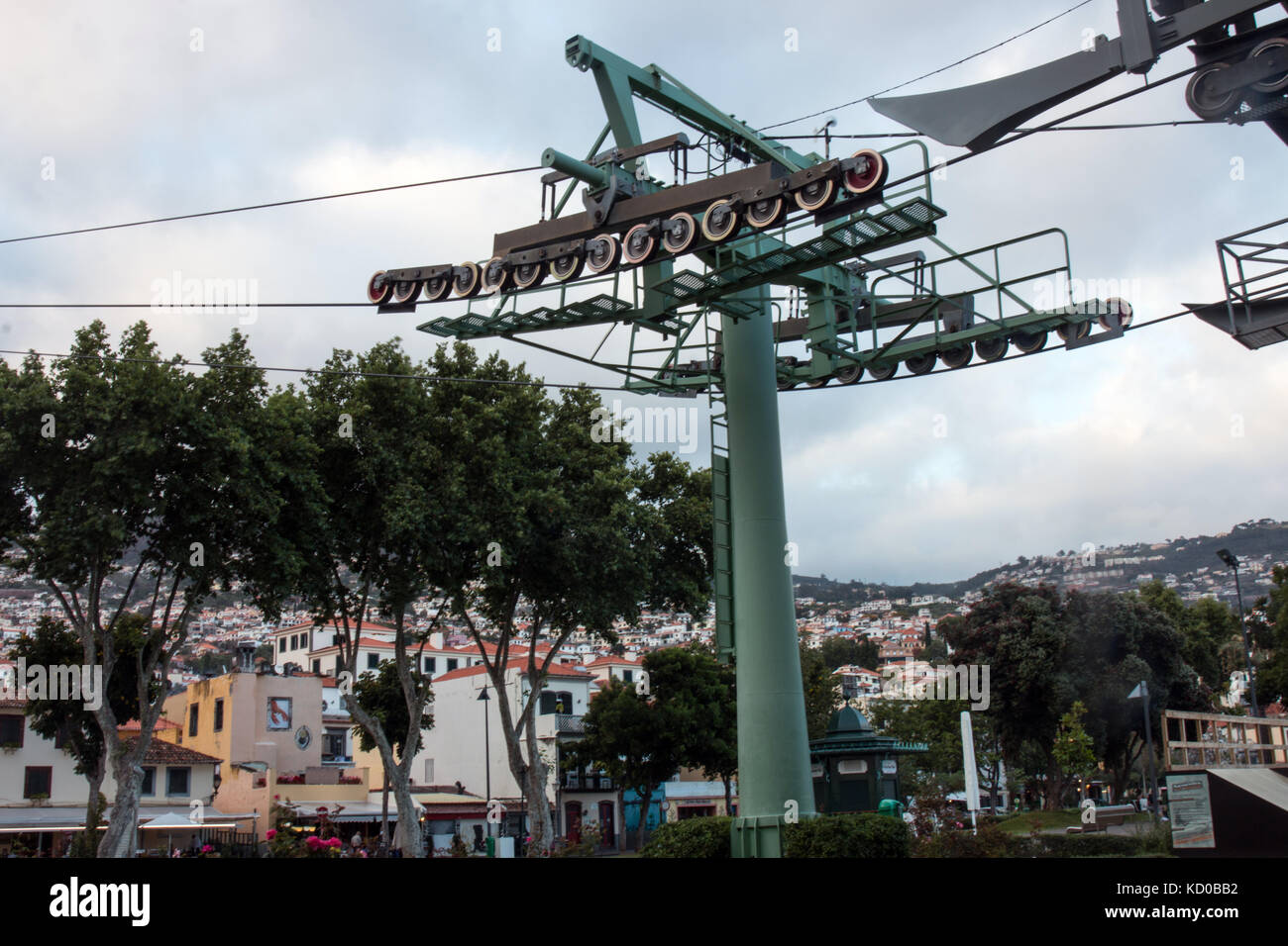 View of the Aerial lift mechanisms in Funchal city Stock Photo
