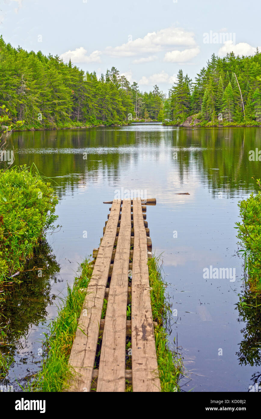Portage Dock to Swamp Lake in the Quetico - Stock Image