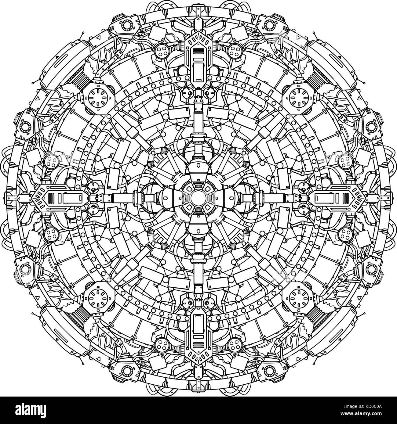 Round Ornamental Techno Sci-fi Mandala Pattern. - Stock Image
