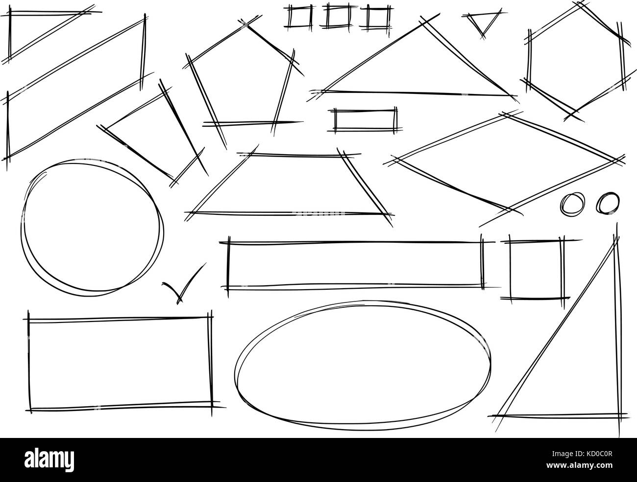 Set of various sketchy 2d geometrical shape doodles. - Stock Image