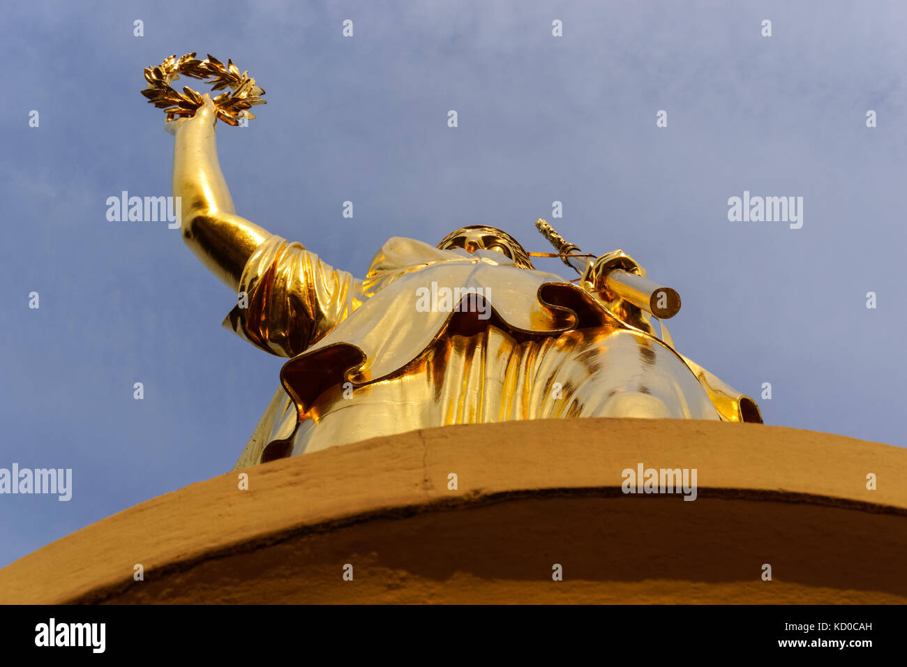 The statue of Victoria on the top of the Victory Column in Berlin, Germany - Stock Image