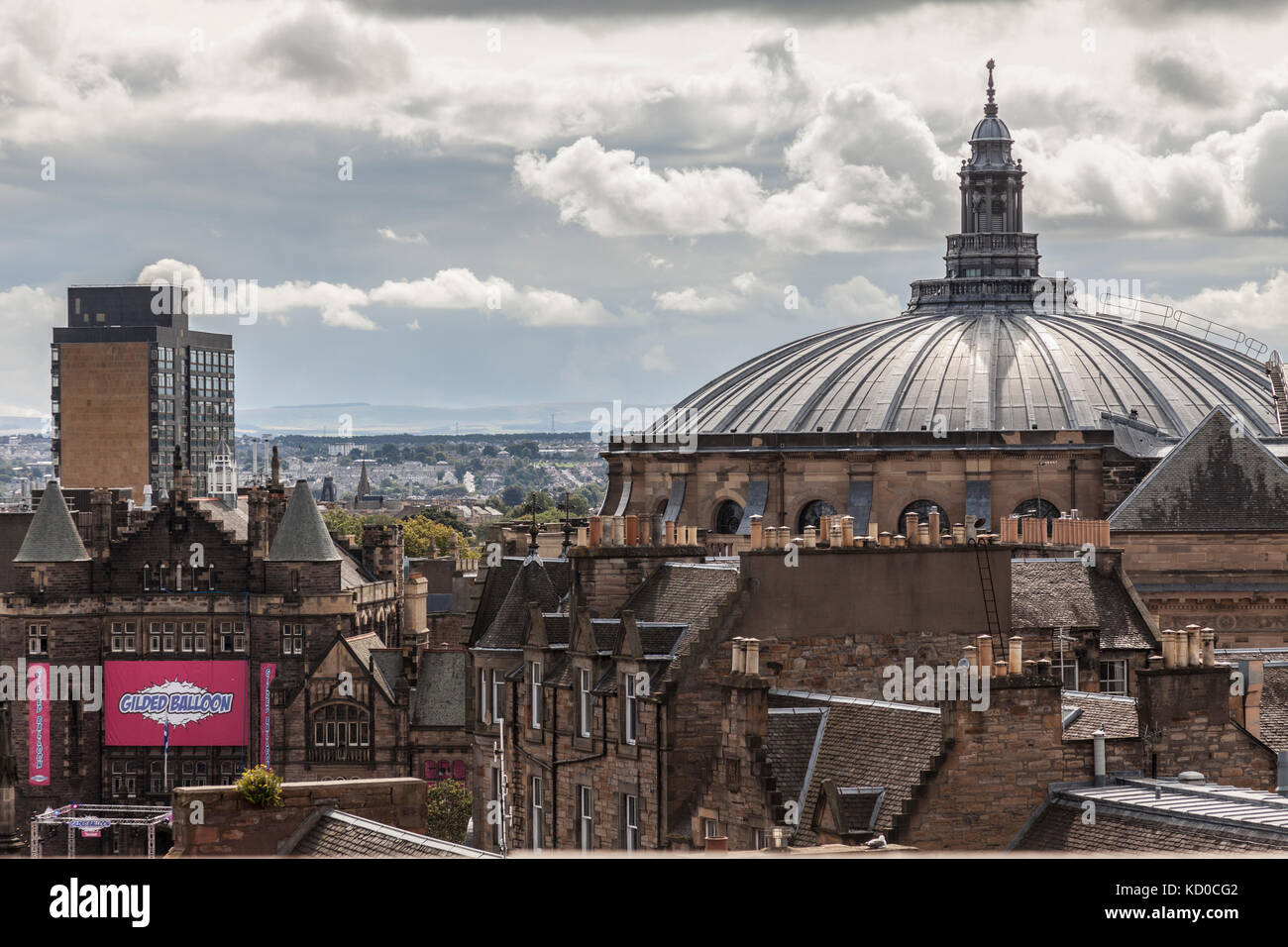 Rooftop view of Edinburgh looking south. Notable are the dome of McEwan Hall, the Gilded Balloon at Teviot Row and - Stock Image