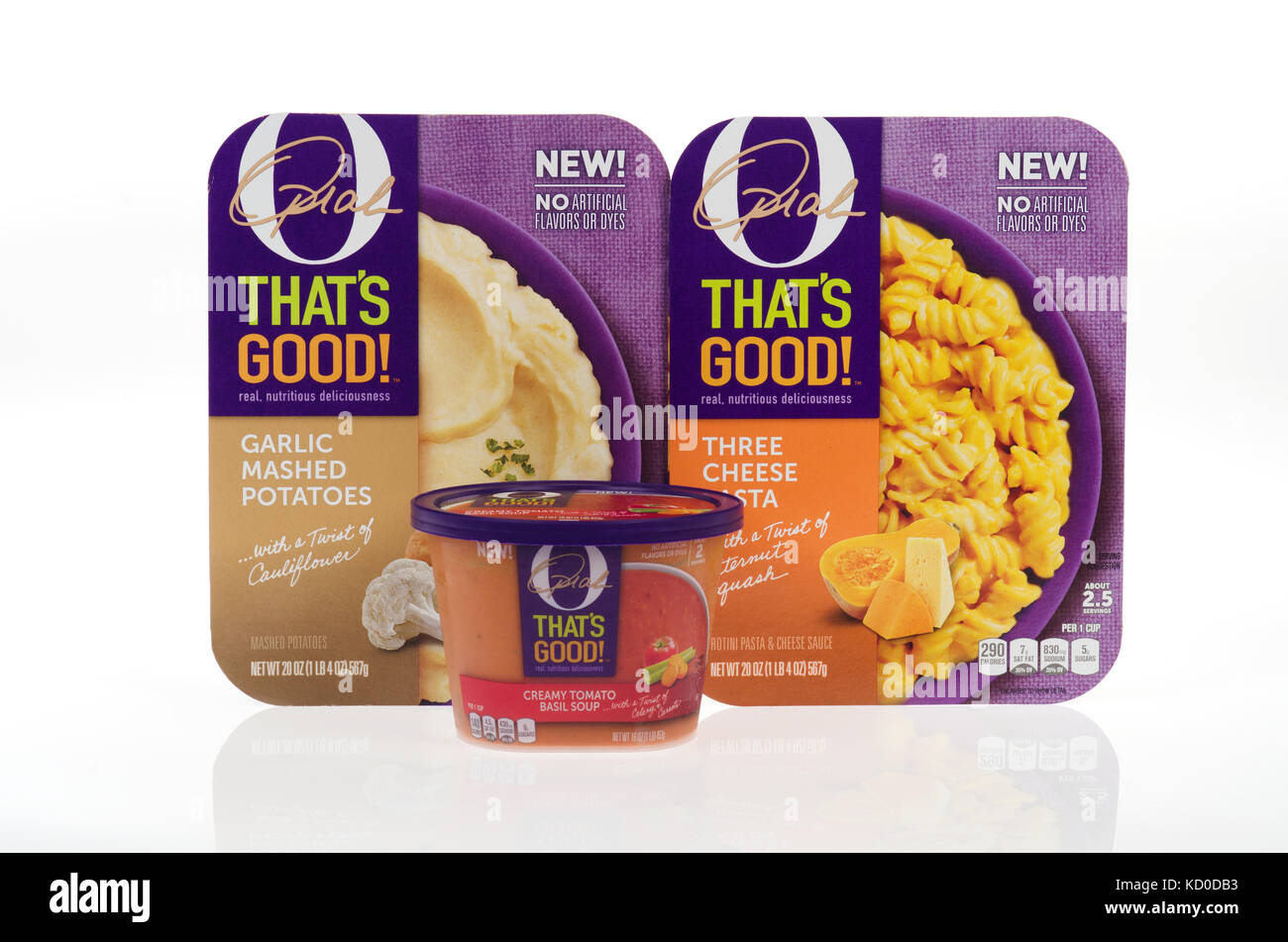 Oprah Winfrey's O THAT'S GOOD! prepared foods in packaging on white background cutout USA - Stock Image