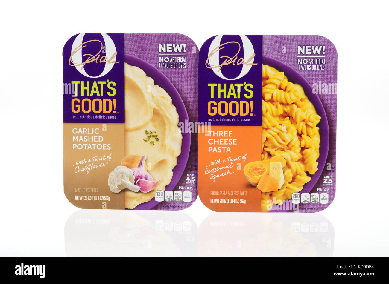 Oprah Winfrey's O THAT'S GOOD refrigerated meals of garlic mashed potatoes and three cheese pasta in packaging - Stock Image