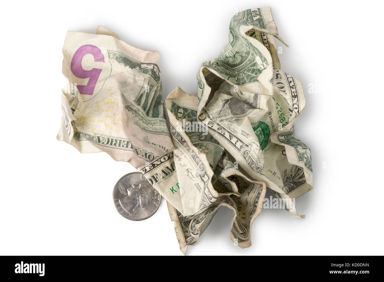 Wrinkled and crumpled dollar bills and a quarter adding up to $7.25, the current (as of 2016) U.S. Federal Minimum - Stock Image