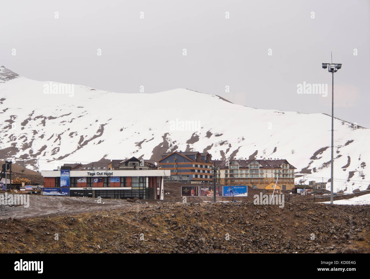 Gudauri ski resort in the high Caucasus mountains in Georgia along the Military highway and near the Russian border, - Stock Image