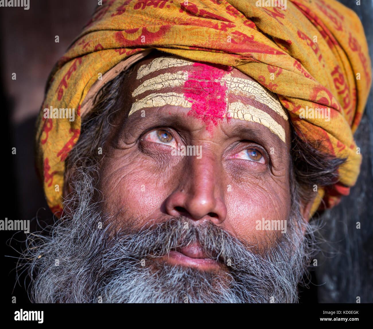Close-up portrait of an elderly Sadhu, Pashupatinath, Kathmandu, Nepal - Stock Image