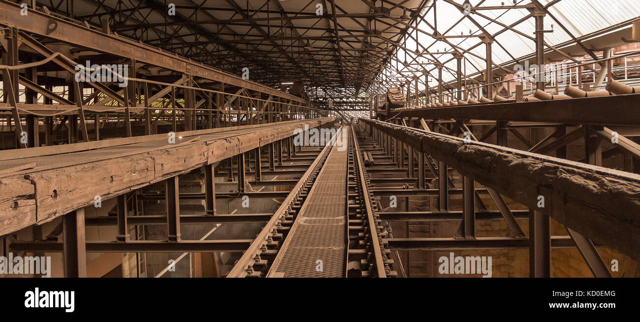 weathered rusty industrial scenery with old rundown, steel girders and  appliances - Stock Image