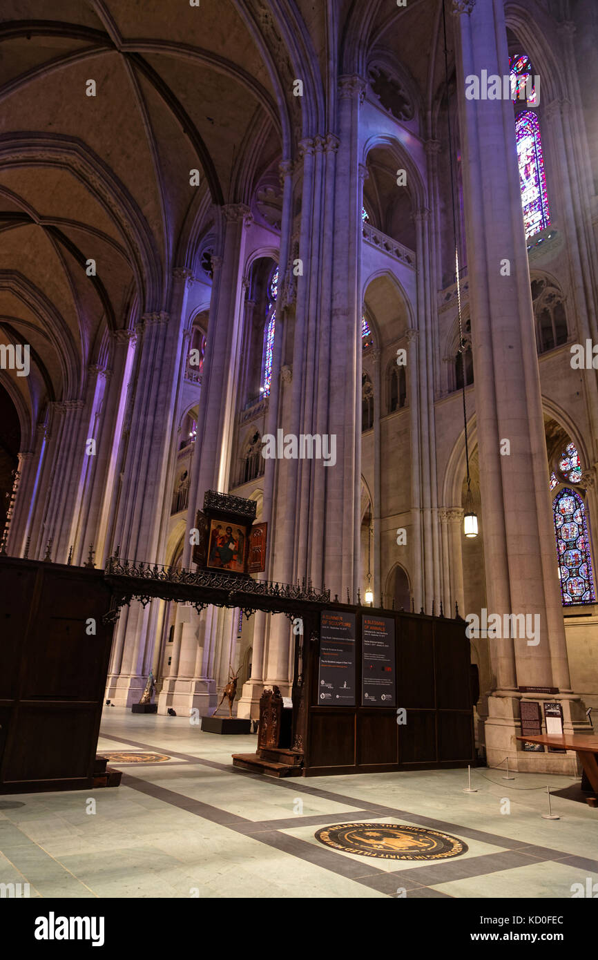 NEW YORK CITY, USA, September 13, 2017 : Cathedral of St John the Divine. The cathedral of the Episcopal Diocese - Stock Image