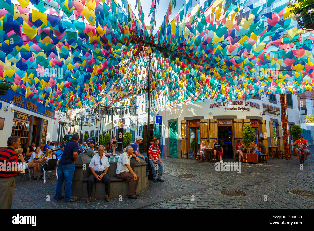 Atmosphere in a village square. - Stock Image