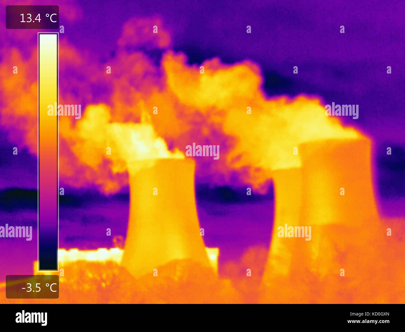 Thermal image of power station, smoke pouring from chimneys - Stock Image