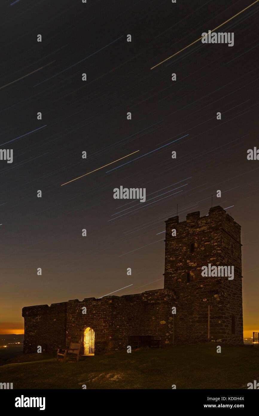 Brentor church at night - Stock Image