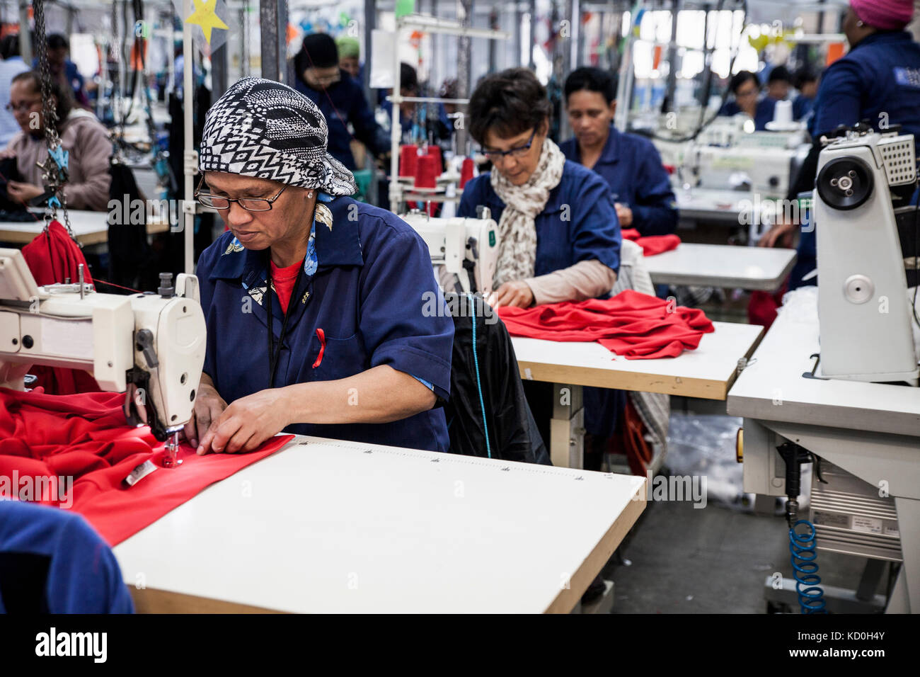 Seamstresses working in factory, Cape Town, South Africa - Stock Image