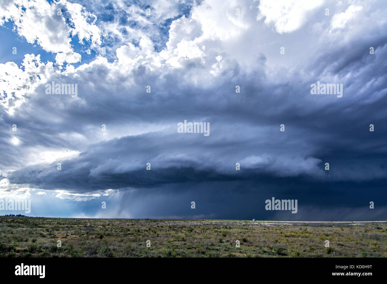 Supercell thunderstorm spins over desert, Tatum, New Mexico, USA - Stock Image