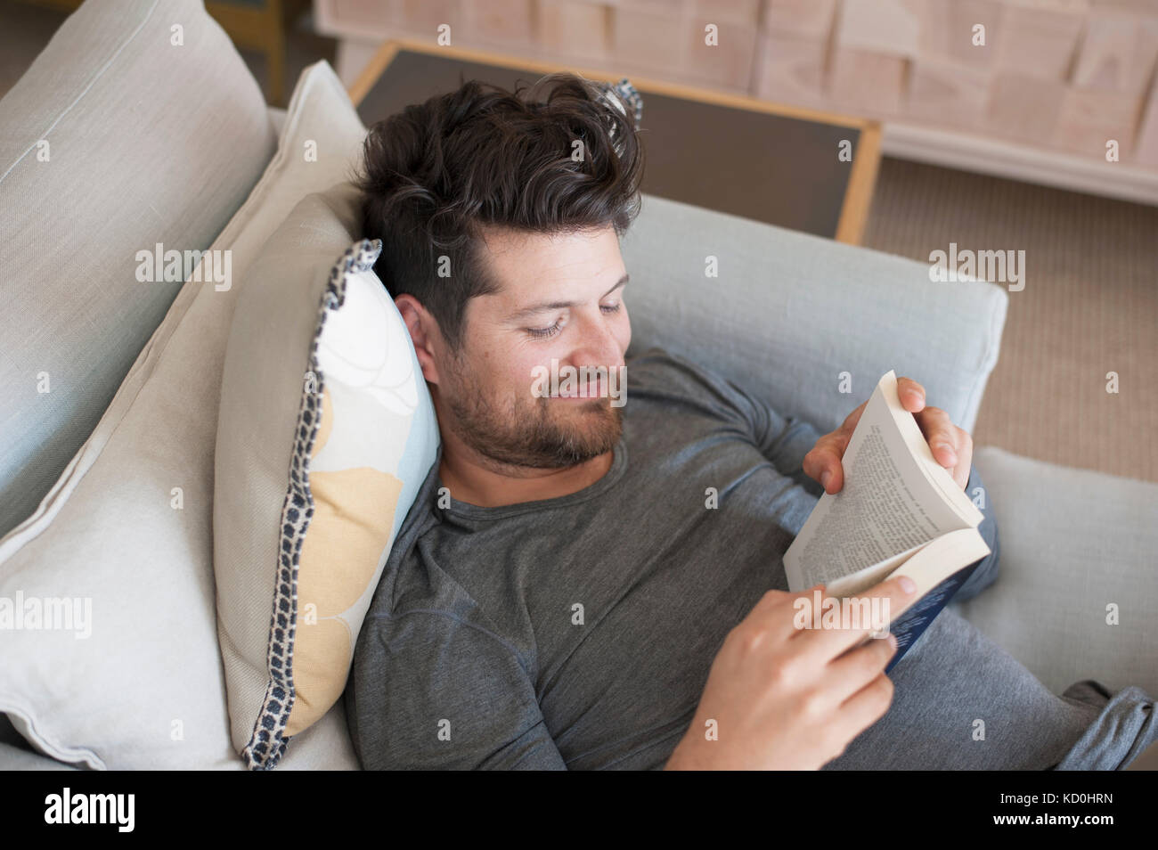 Mid adult man relaxing on sofa, reading book, elevated view - Stock Image