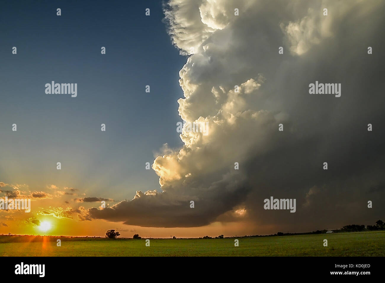 Low-precipitation supercell spiralling gracefully as the sun sets on the horizon, Chickasha, Oklahoma, USA Stock Photo