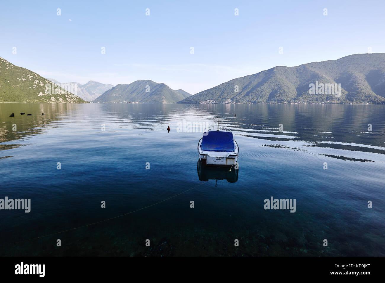 Motor boat anchored in Bay of Kotor, Montenegro - Stock Image