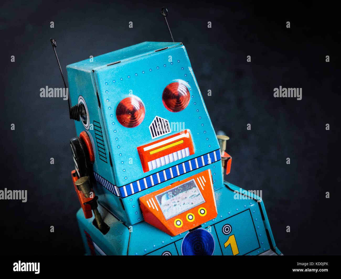 Robot toy - tin plate retro robot toy - Stock Image
