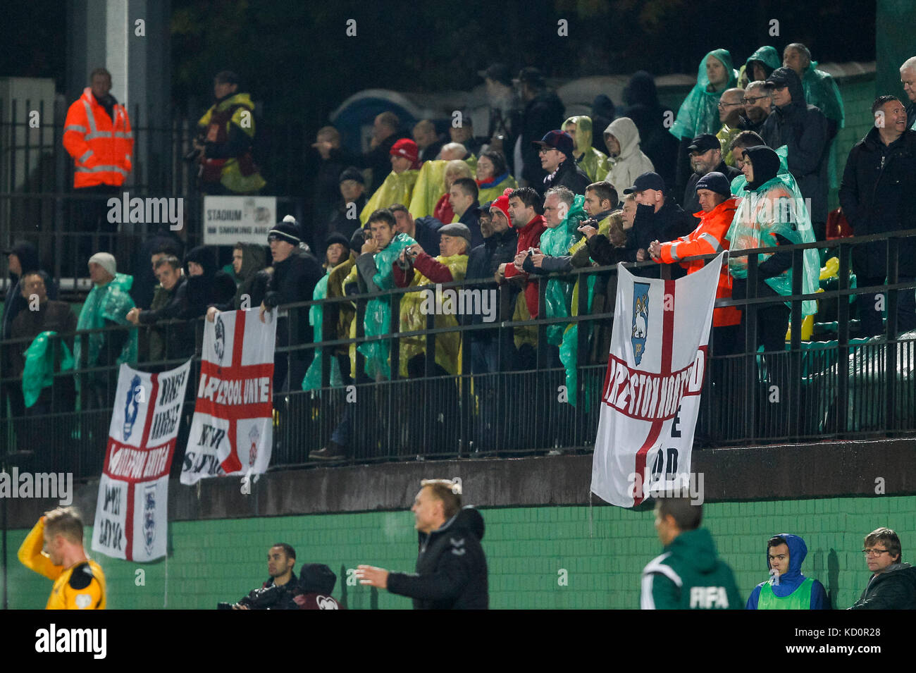 Vilnius, Lithuania. 8th Oct, 2017.  England fans during the FIFA World Cup 2018 Qualifying Group F match between - Stock Image