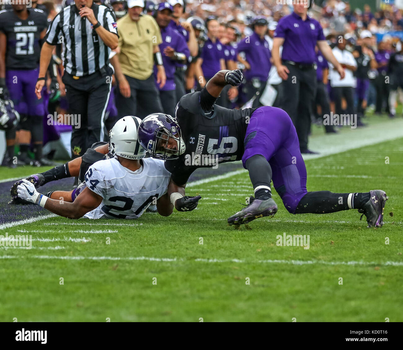 Saturday October 7th - Northwestern Wildcats safety Godwin Igwebuike (16) was flagged for targeting on this play Stock Photo