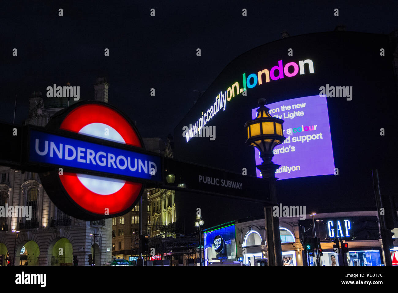 London, England, UK. 08th Oct, 2017. Piccadilly Lights - after nine-months of darkness, London's most prominent - Stock Image