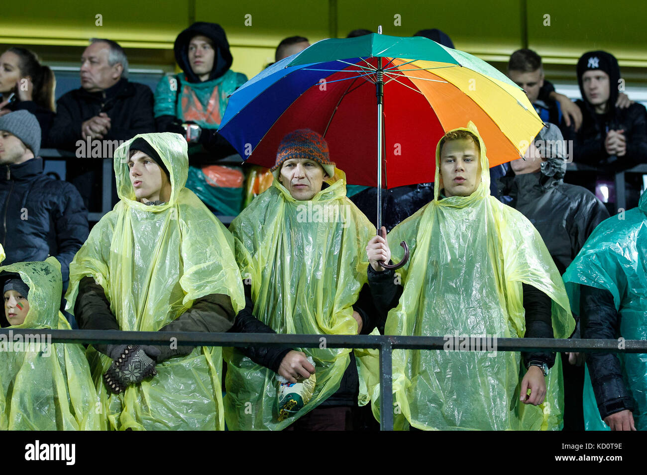 Vilnius, Lithuania. 8th Oct, 2017. Lithuania fans during the FIFA World Cup 2018 Qualifying Group F match between - Stock Image