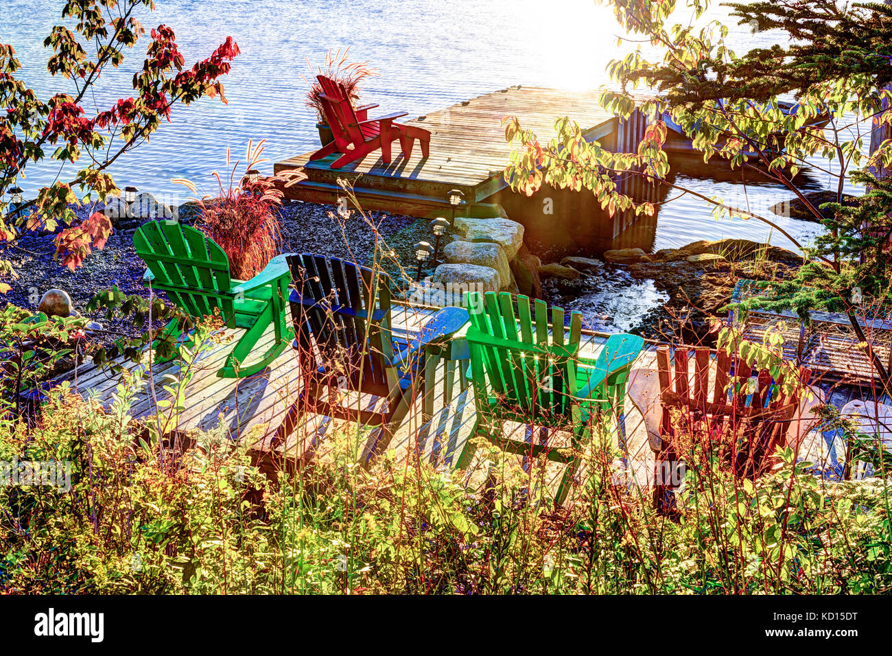 Lawn chair on wharf, Shad Bay, Nova Scotia, Canada - Stock Image