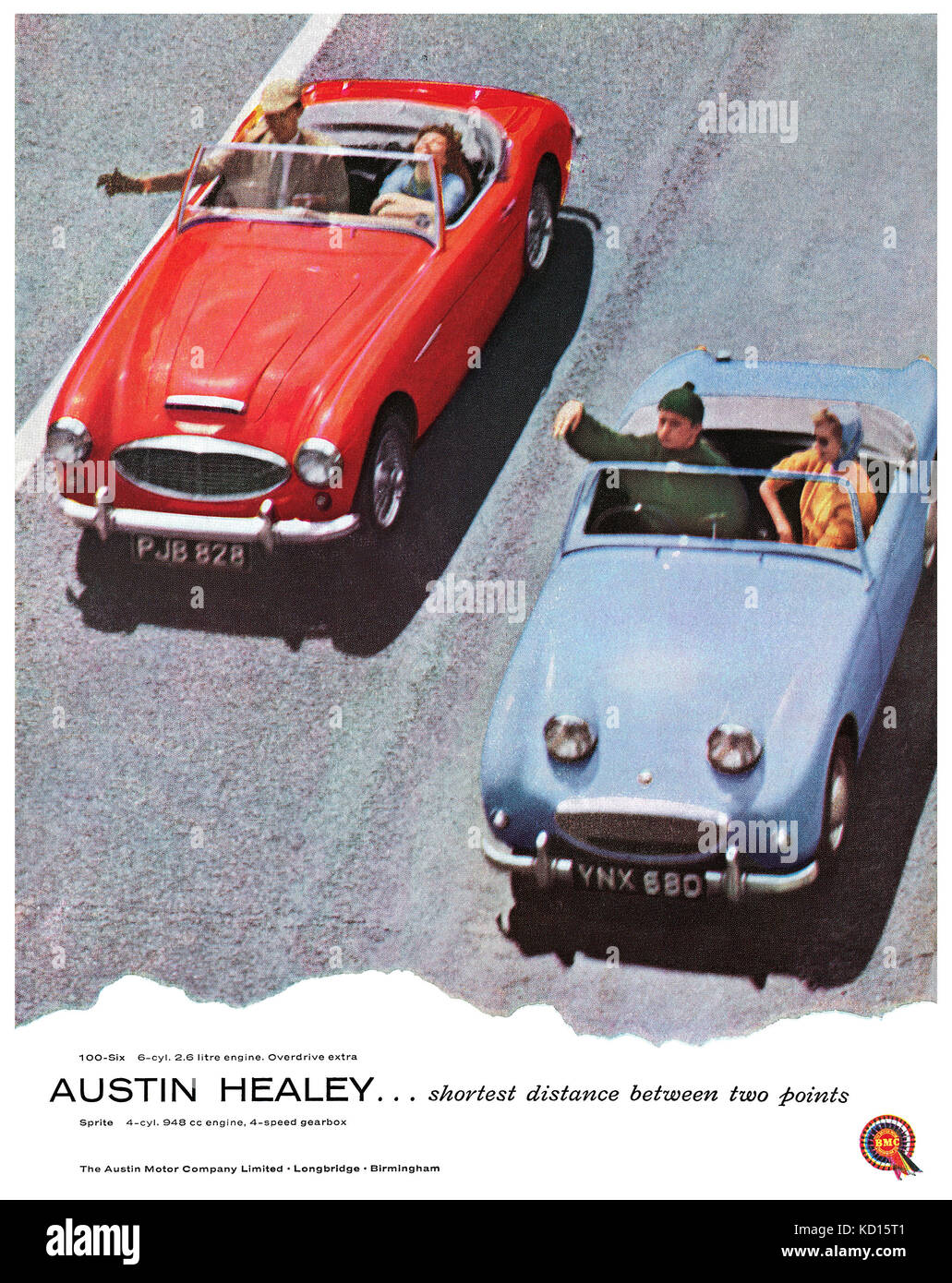 1958 British advertisement for the Austin Healey 100-6 and Austin Healey Sprite sports cars. - Stock Image