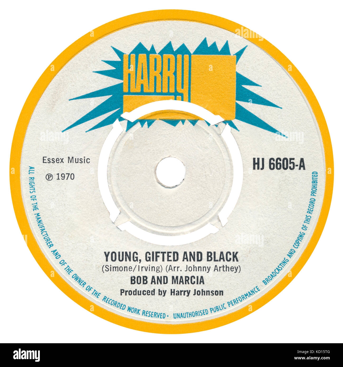 45 RPM 7' UK record label of the reggae single Young, Gifted And Black by Bob and Marcia (Bob Andy and Marcia - Stock Image