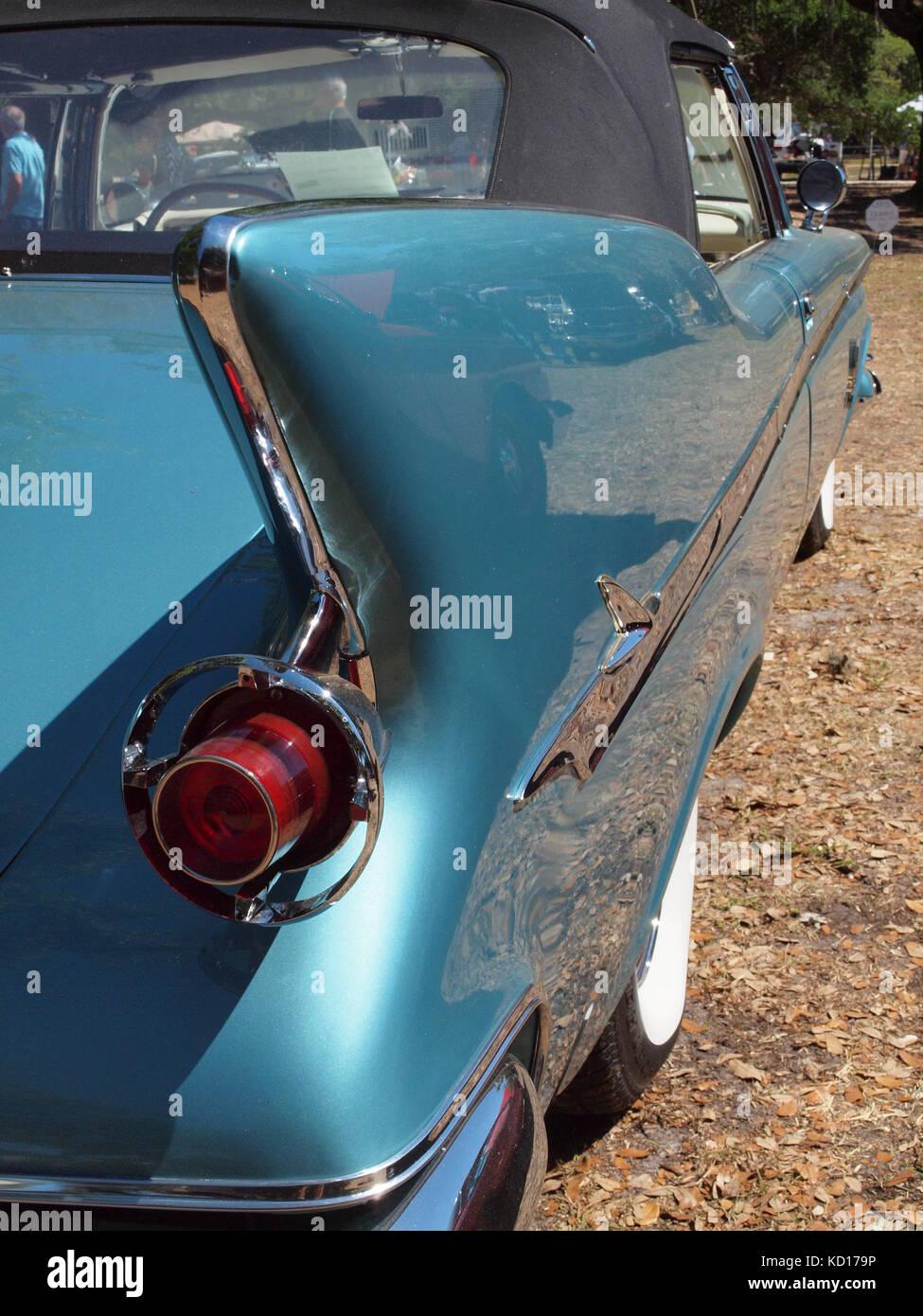 Giant fifties era fins on Chrysler convertible in Vero Beach, Florida Stock Photo