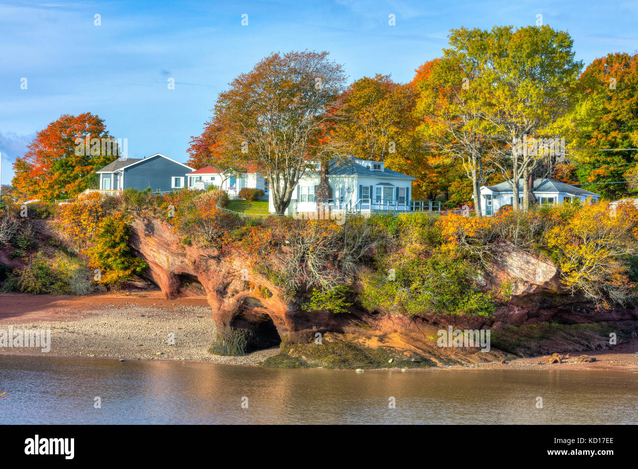 tide starting to rise, Bay of Fundy, St. Martins, New Brunswick, Canada - Stock Image