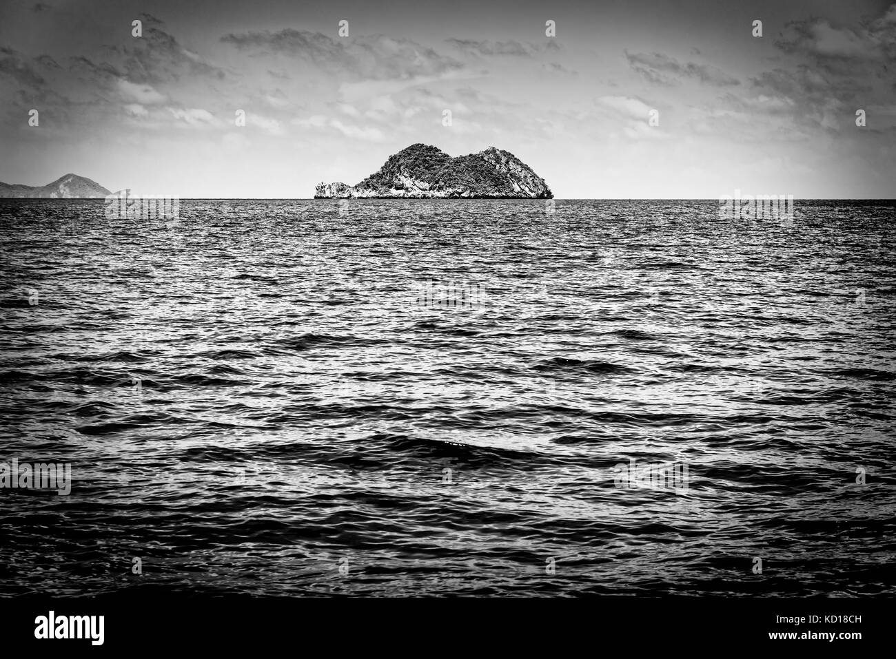 Old black and white picture of the small island in the sea at Mu Ko Ang Thong National Marine Park, Surat Thani - Stock Image