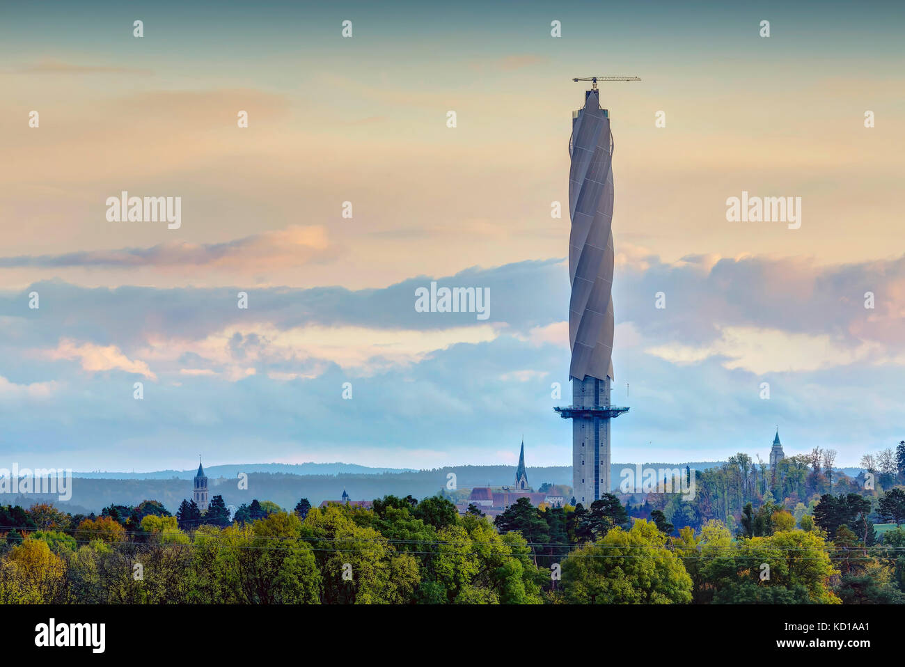 Test tower for elevators in Rottweil, Baden-Wuerttemberg. - Stock Image