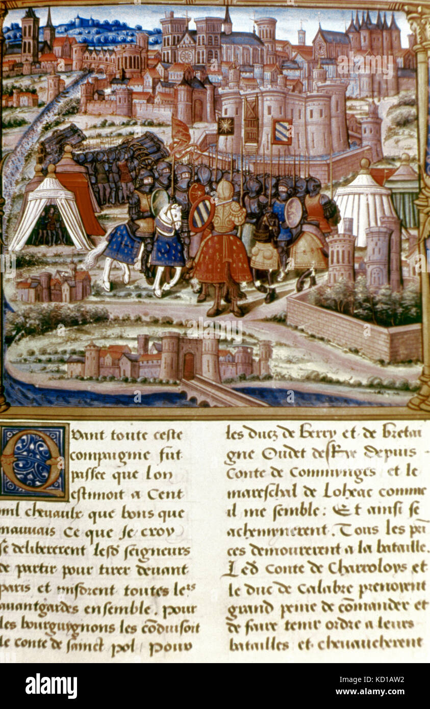 Louis XI (1423-1483). King of France. Site of Paris. Miniature of a manuscript of 15th century. - Stock Image