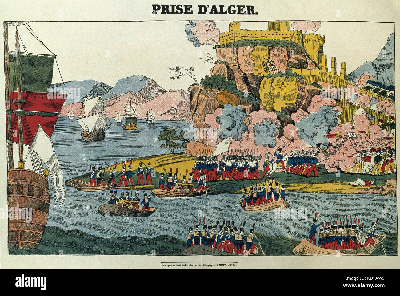 History of Algeria. French conquest of Algeria. Entry to the french troops into the capital, July 1830. Litograph. - Stock Image