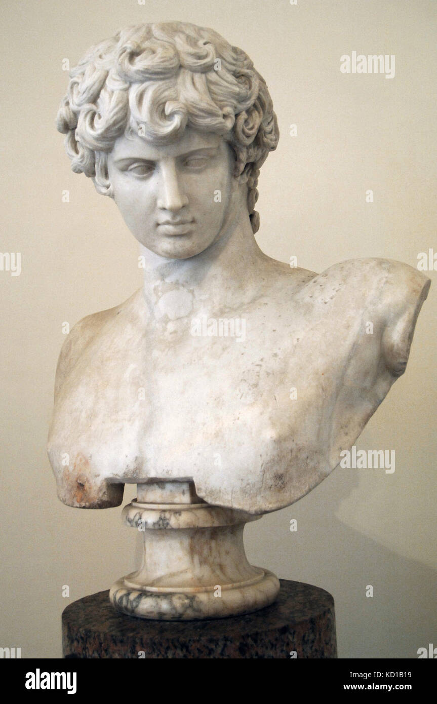 Antinous (111-130 AD). Greek youth and a favourite, or lover, of the Roman emperor Hadrian. Statue. Altemps Palace. - Stock Image