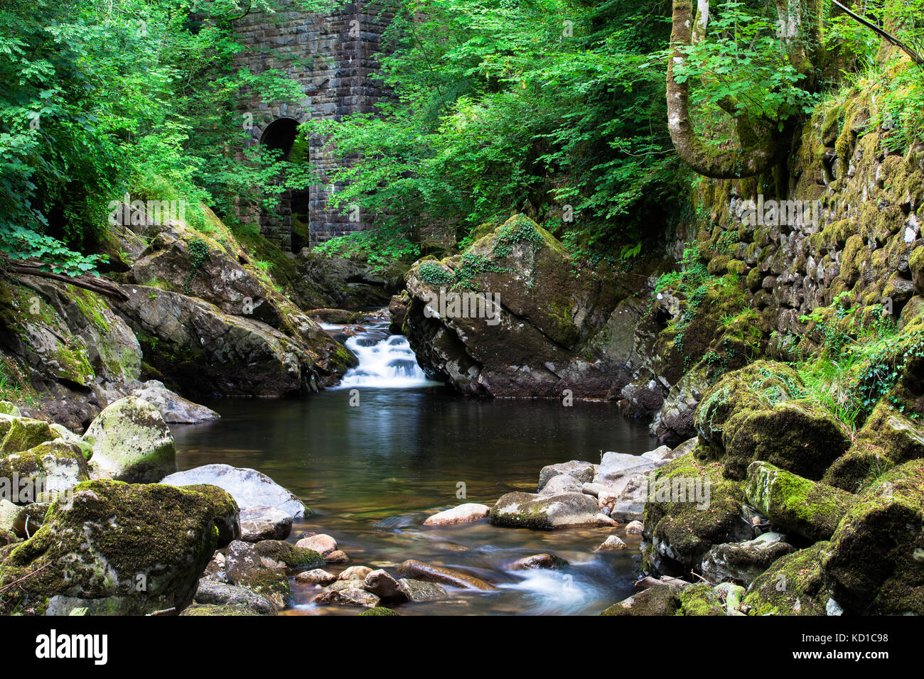 river Erme at Ivybridge with viaduct wall - Stock Image
