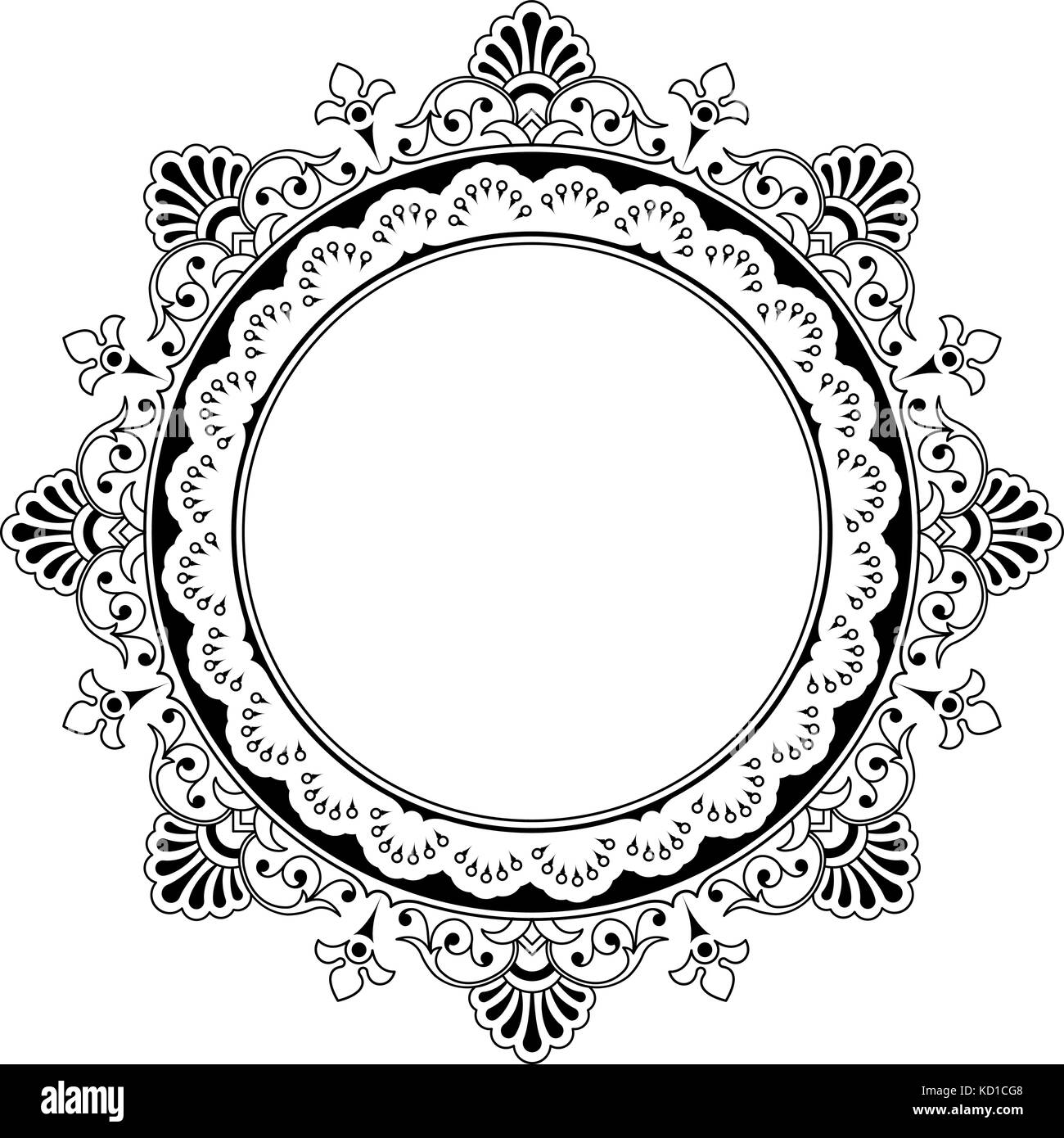 Black Frame Vector Isolated On White Background Round Floral Stock Vector Image Art Alamy
