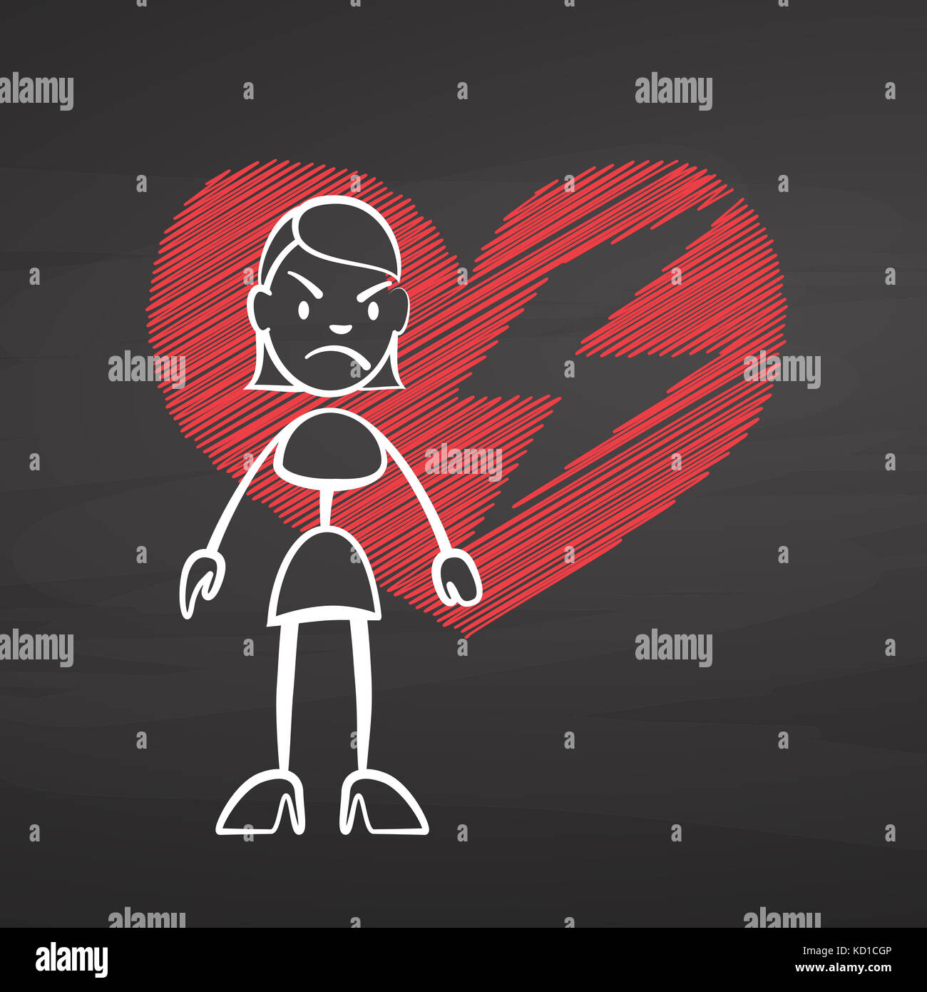 Stick Woman Heart Broken On Chalkboard Handdrawn Vector Sketch Clean Outlines Vintage Style