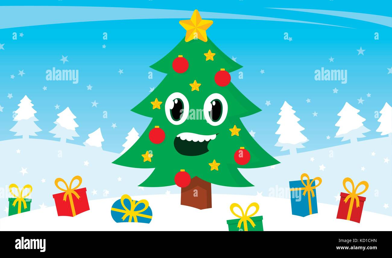 Happy Cartoon Christmas Tree With A Smiling Face Surrounded By Stock Vector Image Art Alamy