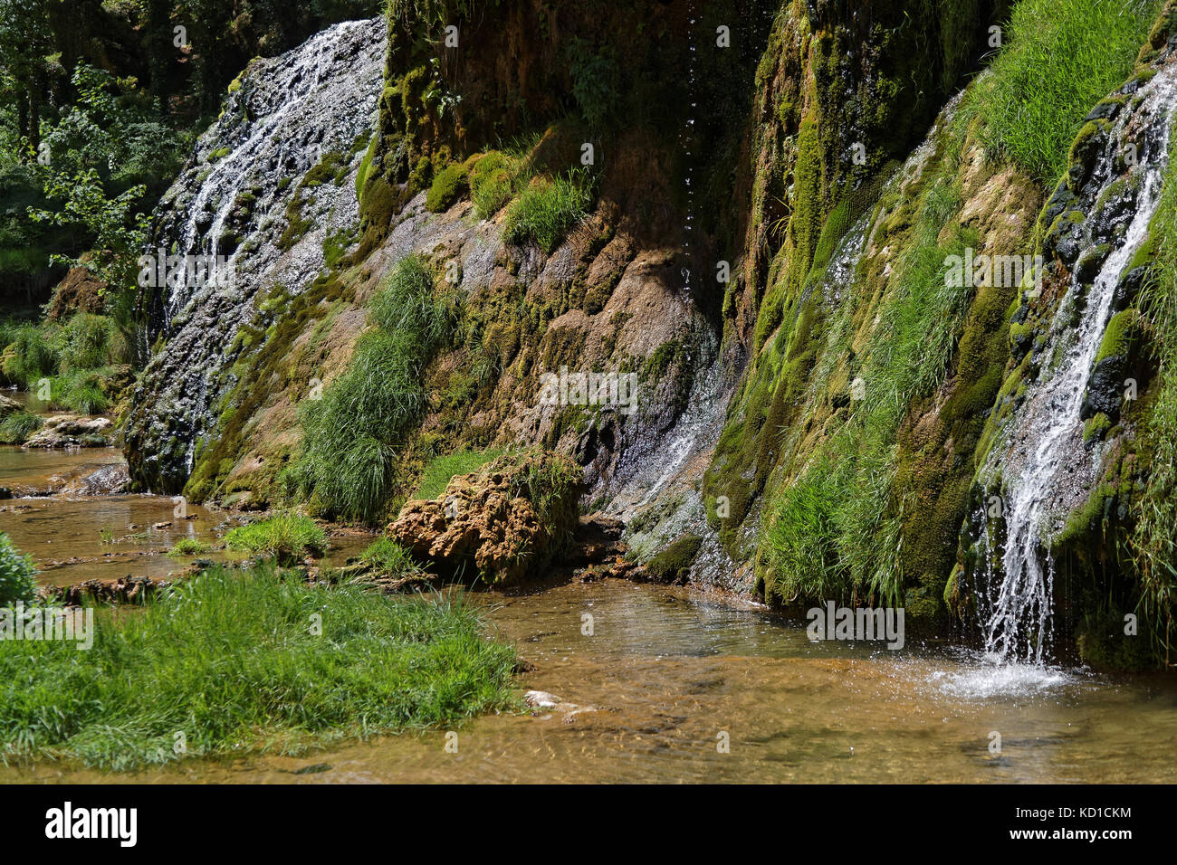 Waterfalls in Baume-Les-Messieurs valley - Stock Image