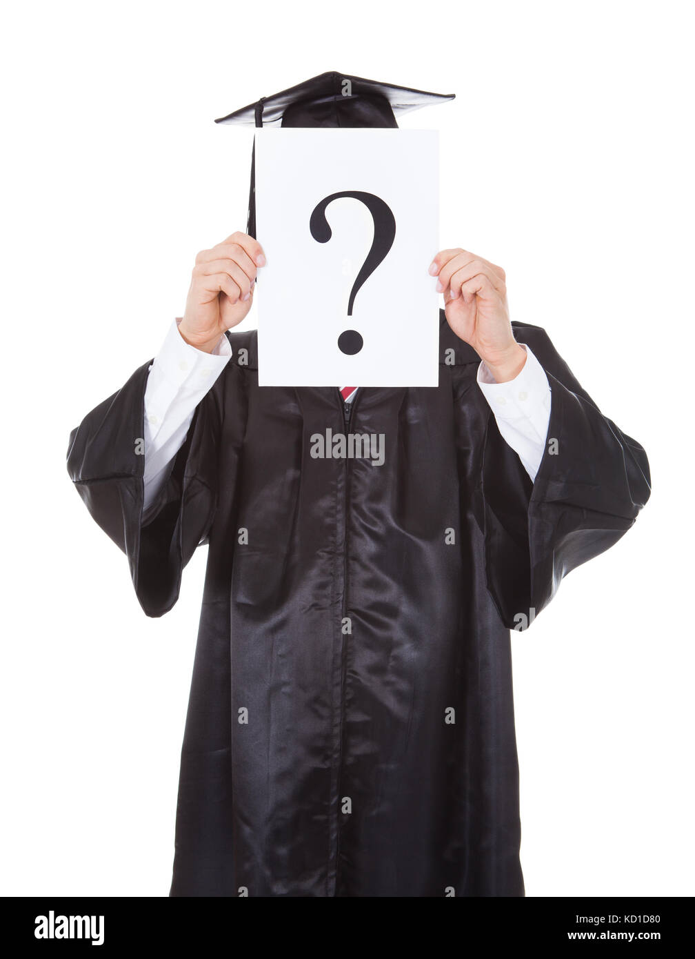 Graduate Person Holding Question Mark Sign In Front Of Face Over White Background - Stock Image