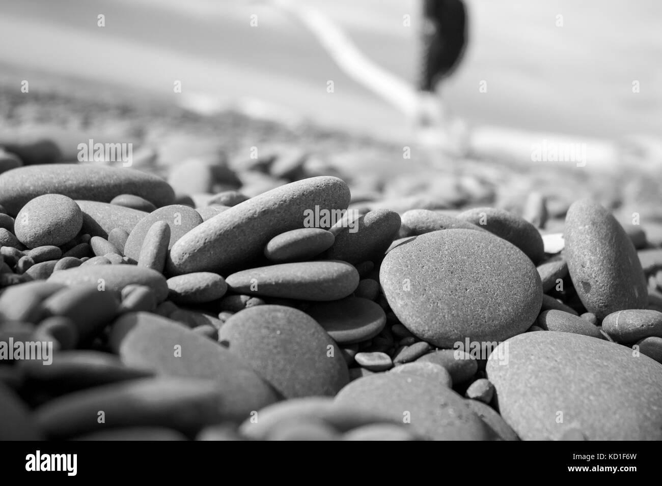 Stones on beach, New Zealand - Stock Image