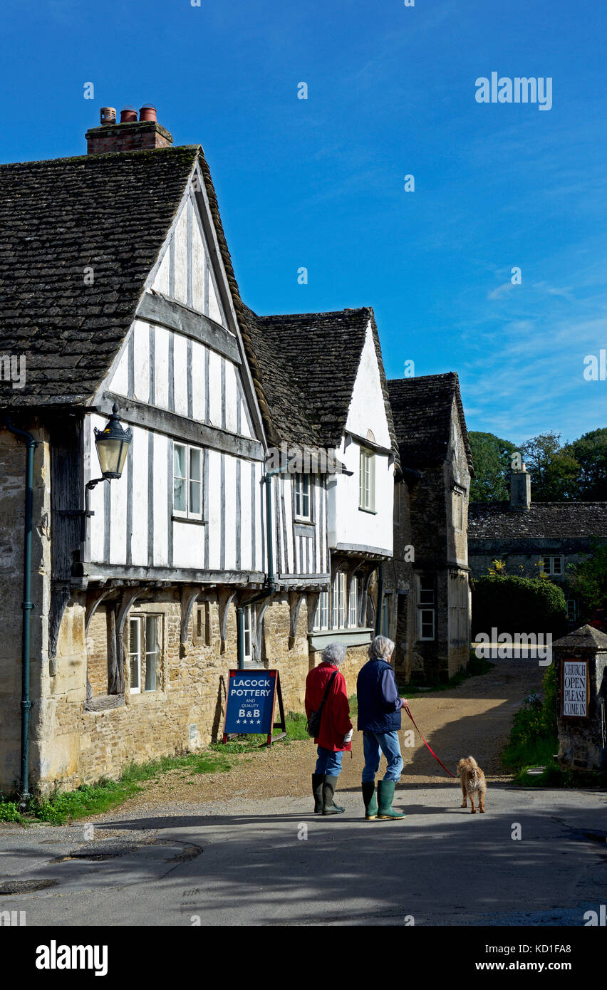 Half-timbered buildings in the village of Lacock, Wiltshire, England UK - Stock Image