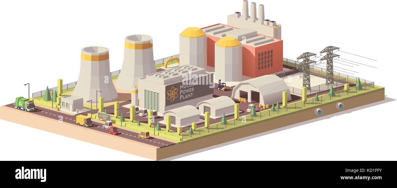 Vector low poly nuclear power plant - Stock Vector