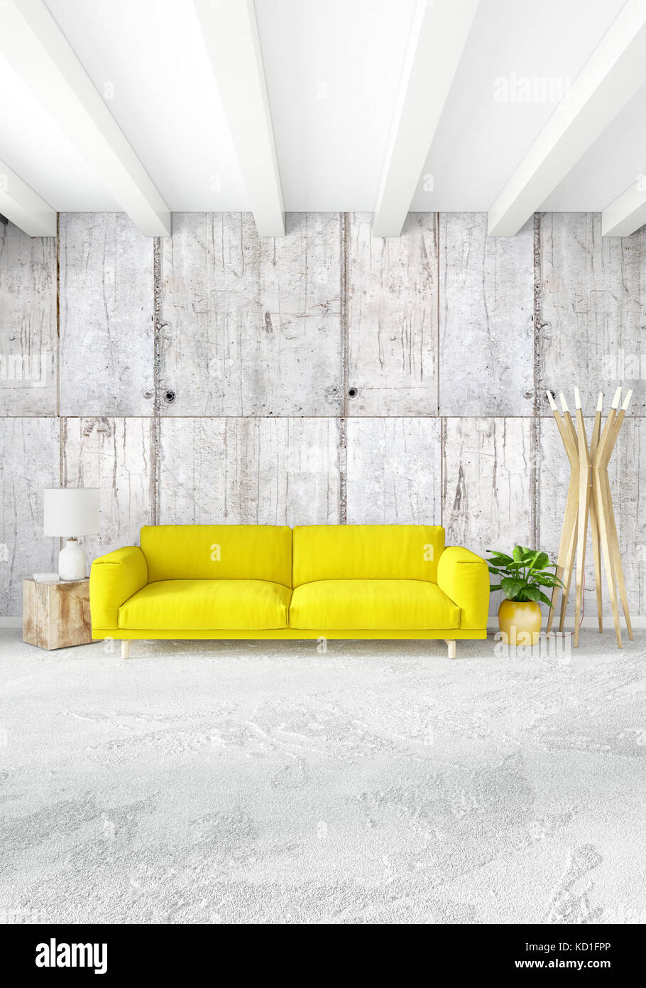 Yellow bedroom or livingroom in modern style interior design with exuding wall and stylish furniture 3d rendering