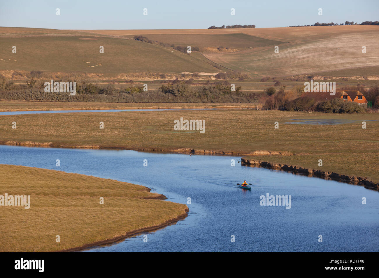 Cuckmere Estuary, Cuckmere Haven, area of flood plains in East Sussex, nature reserve overlooking the Seven Sisters Stock Photo