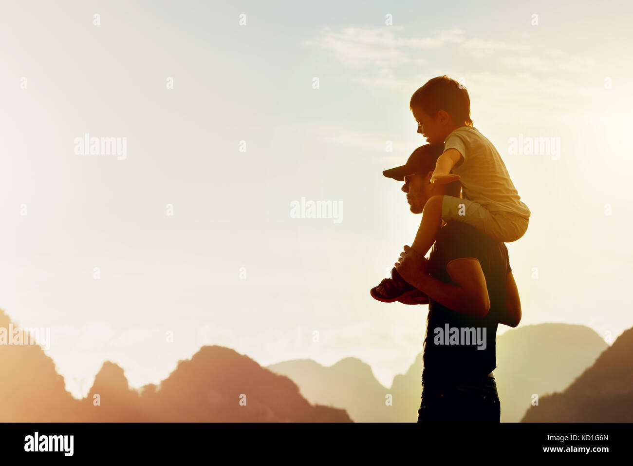 Happy father son travel flight concept - Stock Image
