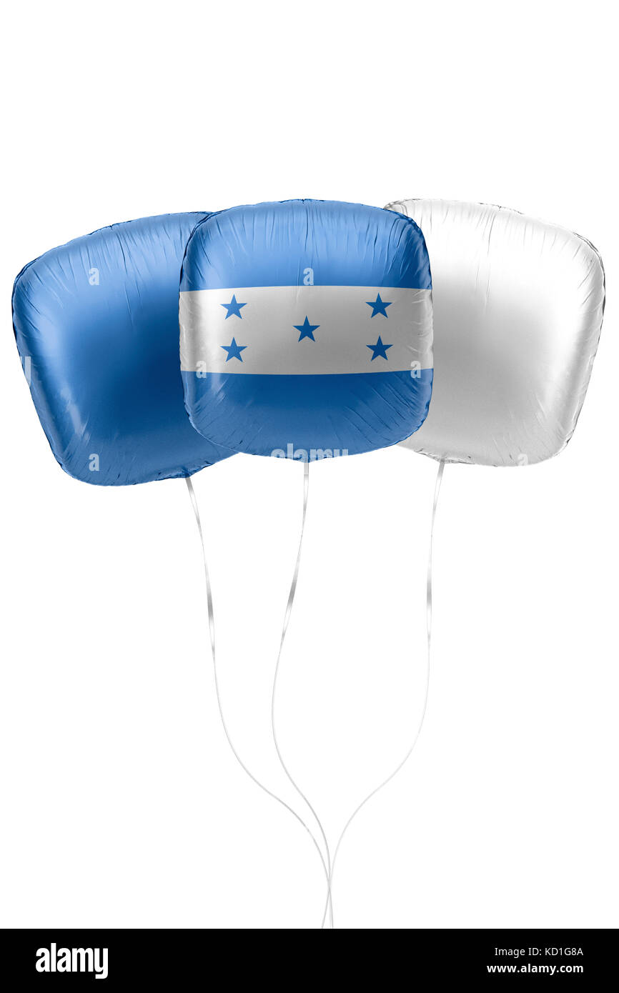 Three balloons represent Honduras flag colors are floating on a white surface with strings attached. 3D Rendering. Stock Photo